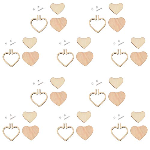 10 Pieces Small Embroidery Hoops Ring Mini Geometric Wooden Cross Stitch Hoop Wood Hoops for Frame Craft and Hanging (10pcs Heart(44cm))