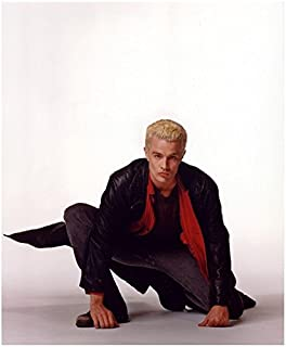 James Marsters 8 x 10 Photo Buffy The Vampire Slayer White Background All Grey Red Shirt Long Black Leather Jacket on One Knee Pose 2 kn