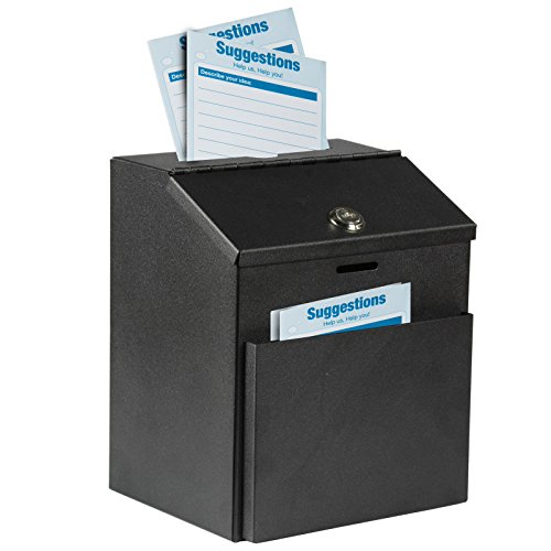 Adir Wall Mountable Steel Suggestion Box with Lock - Donation Box - Collection Box - Ballot Box - Key Drop Box (Black) with 25 Free Suggestion Cards
