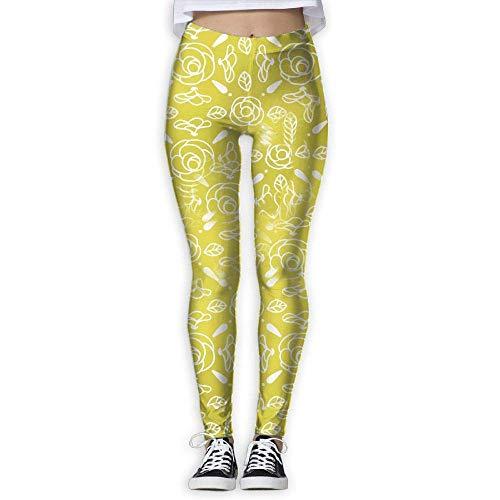 Ewtretr Yoga Pilates Hosen Fitnesshose für Damen, Creative Flowers Printed Leggings Full-Length Yoga Workout Leggings Pants