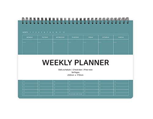 Elite Check, agenda settimanale con rilegatura a spirale, agenda settimanale e giornaliera, scatola di scorti, nota gratuita, 25 x 17 cm Verde pavone