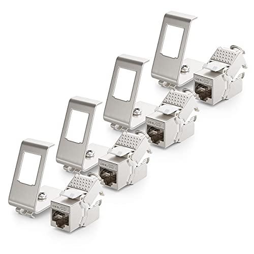 deleyCON 4X CAT6a Keystone Jack Modul mit 4X 1-Port Hutschienenadapter als Set Metall STP Schirmung RJ45 Buchse 10 Gbit/s Netzwerk Snap-In Montage für 35mm Hutschienen