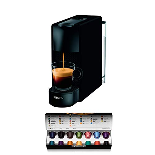 Cafetera de cápsulas Krups ESSENZA MINI color Negro Mate XN110N10 compatible con Nespresso - Ultracompacta, 19 bares de presión, calentamiento rápdio 25 seg, modo ahorro (Incluye pack 14 cápsulas)