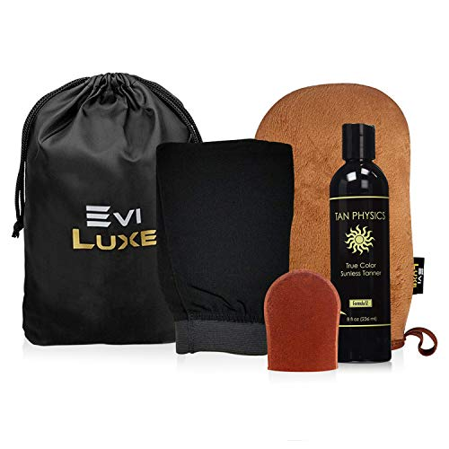 Tan Physics & EviLuxe Deluxe Tanning Mitt Bundle (5pcs) – Face & Body Tanner Mitts, Exfoliation Glove, Storage Bag & 8oz True Color Sunless Tanning Lotion – For Flawless Sun Kissed Skin All Year Long