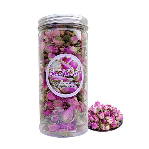 CoolCrafts Capullos Rosas Secas Naturales 60g Flores Secas Rosa para Decoración de Pasteles, Jabón, Resina, Popurri