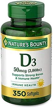 350-Count Natures Bounty Vitamin D3 2000 IU Rapid Release Softgels