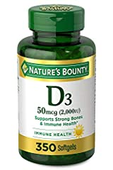 Immune support: 350-count, 2000IU Vitamin D3 Softgels for immune health.Vitamin D by Nature's Bounty may assist the immune system by helping to regulate T and B-lymphocytes. Vitamin D3 is a more potent form of Vitamin D Strong, healthy bones: In addi...