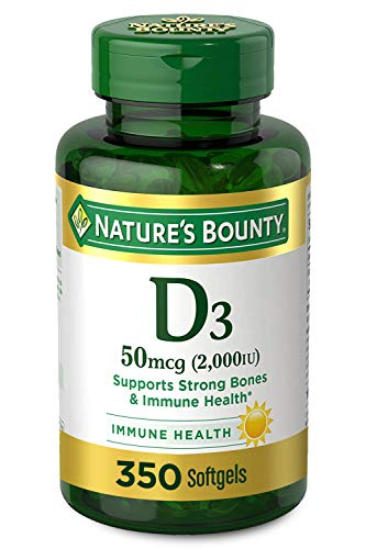 Vitamin D3 by Nature's Bounty, Supports Immune Health & Bone Health, 2000IU per Serving, 350 Softgels
