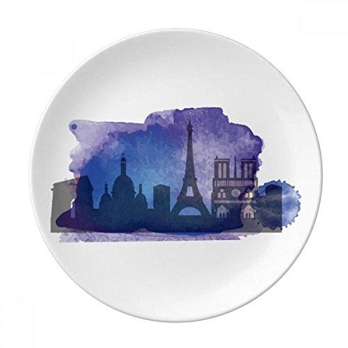 DIYthinker France Paris Tour Eiffel Bleu Aquarelle Décorative Porcelaine Assiette à Dessert 8 Pouces Dîner Accueil Cadeau 21cm Diamètre Multicolor
