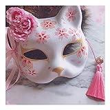 九尾の狐の仮面、ハロウィンコスプレ動物パーティーのおもちゃ手作りのハーフフェイスの絵、仮装パーティーマスクコスプレ衣装の小道具
