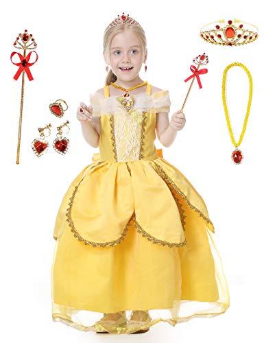 Augwindy ベルドレス プリンセスドレス ロングドレス ワンピース 子供 キッズ 女の子 コスチューム コスプレ 仮装 ハロウィン 演奏会 誕生日 結婚式 発表会 演出用 クリスマス 130