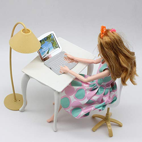 Gemini_mall Desk Chair Laptop Table and Chair with Lamp Dollhouse Furniture Dolls House Accessories for Barbie Doll Children Kids Girls Toys Christmas Birthday Gifts Party Bag Fillers (White)