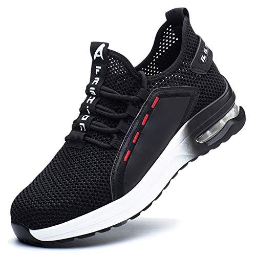 Koyike Zapatos con Punta de Acero para Hombre Zapatos de Seguridad Zapatos de Trabajo para Mujer Zapatos de protección Antideslizantes Transpirables de Malla Zapatos de Senderismo,White-40