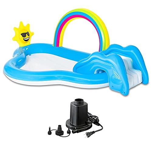 FIELDOOR レインボー&シャイン・すべり台1個付 スライドプール 2.1cm×1.6m 【ブルー】 & AC電源電動エアーポンプ シャワー付 クッション 水遊び
