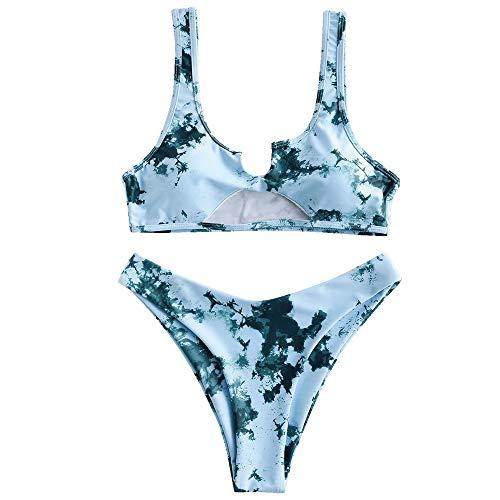 ZAFUL Zweiteiliger Bikini Set, Bralette Wrap Bikinioberteil Tie Dye Gedruckt Hohlweste Hoch Taille Unterteil für Damen