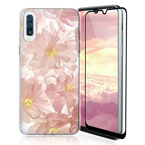 TJS Phone Case Compatible with Samsung Galaxy A50 2019, with [Full Coverage Tempered Glass Screen Protector] Ultra Thin Slim TPU Matte Color Design Transparent Clear Soft Skin Cover (Blush)
