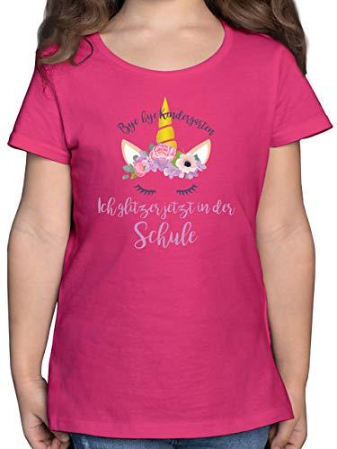 Einschulung und Schulanfang - Bye Bye Kindergarten ich Glitzer jetzt in der Schule Blumen - 128 (7/8 Jahre) - Fuchsia - Shirt Schule 2020 - F131K - Mädchen Kinder T-Shirt