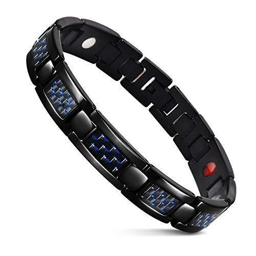 JFUME Uomo Braccialetto Magnetico Fibra di Carbonio Blu Alleviare i Dolori Articolari,Nero Blu 22cm