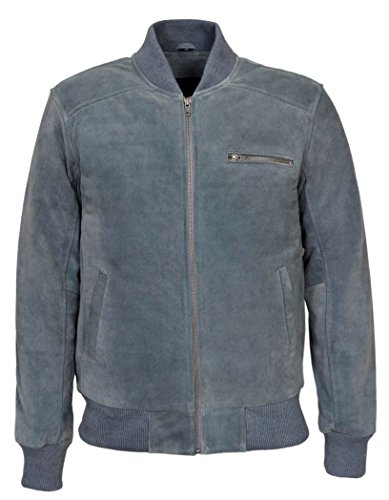 275 70's Men's Grey Suede Classic Biker Style Italian Fitted Real Leather Jacket (M)