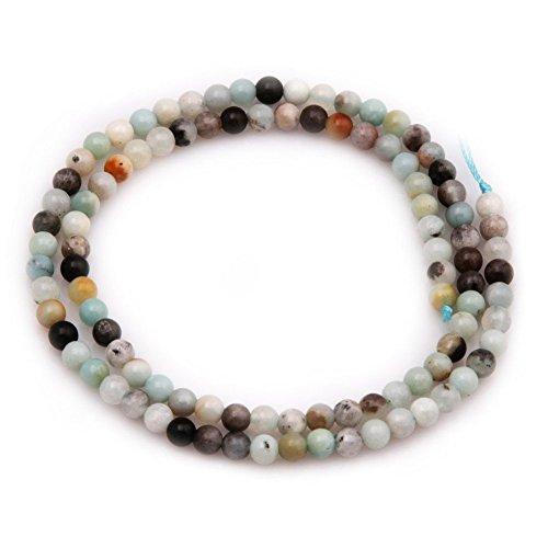 Sungpunet Perlenkette mit 4 mm runden Amazoniten, 38 cm lang, zur Schmuckherstellung