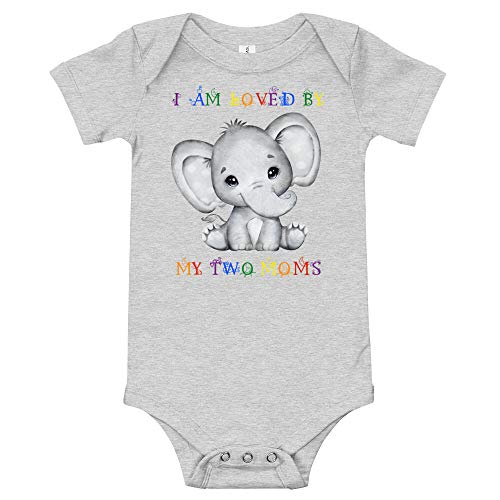 Cute Rainbow Elephant - I Love My Two Moms, Lesbian Mommies Baby Clothes, Newborn Baby Romper, Pride LGBT Onesie