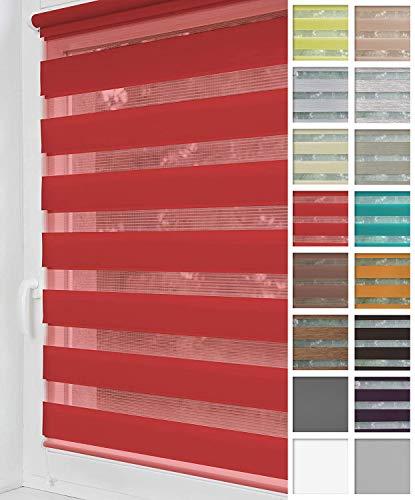Home-Vision® Duo Rollo Klemmfix, Doppelrollo ohne Bohren mit Klämmträgern, Rollos für Fenster und Türen (Rot, B50cm x H150cm)