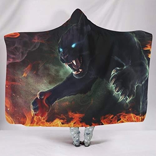 Magie Black Fire Panther - Manta con capucha y diseño de cielo estrellado, muy suave, para niñas, sofá o sillón, color blanco, 130 x 150 cm