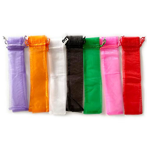 HUSL 36 Piezas Bolso De Abanico De Mano Plegable De Organdí con Cordón, Bolsas de Organza, Abanicos boda para invitados Bolsa De Regalo Favor De Boda Fiesta (Multicolor, 6X27CM-36 PIEZAS)