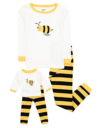 Leveret Matching Doll & Girl Bumble Bee 2 Piece Pajama Set 100% Cotton 6 Years