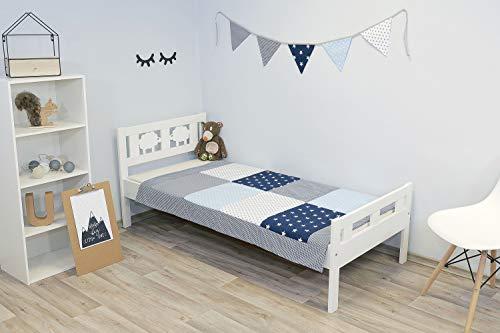 ULLENBOOM ® Baby Patchworkdecke (100x140 cm) Blau Hellblau Grau (Made in EU) - gepolsterte Babydecke aus Baumwolle (Ökotex), ideal als Krabbeldecke, Kuscheldecke oder Tagesdecke, Design: Patchwork