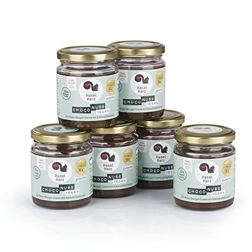 Hasel-Herz Bio- Nuss-Nougat-Creme Brot-Aufstrich 6 Gläser x 220g | Gesüßt mit Kokosblütenzucker, ohne Palmöl | 35% Nussanteil, kontrollierter biologischer Anbau, vegan
