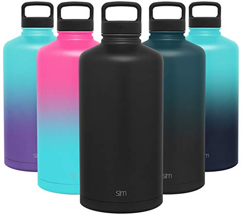 Simple Modern Gallon Summit 128 Ounce Water Bottle - Large Stainless Steel Liter Flask +2 Lids - Wide Mouth Workout Tumbler Double Wall Vacuum Insulated Black Leakproof - Midnight Black