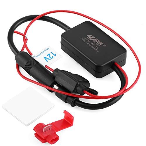 Lorenlli Amplificateur de Signal Radio ANT-208 d'automobile de Voiture de véhicules de Voiture 12V FM propulseur d'antenne pour renforcer Les signaux Noirs