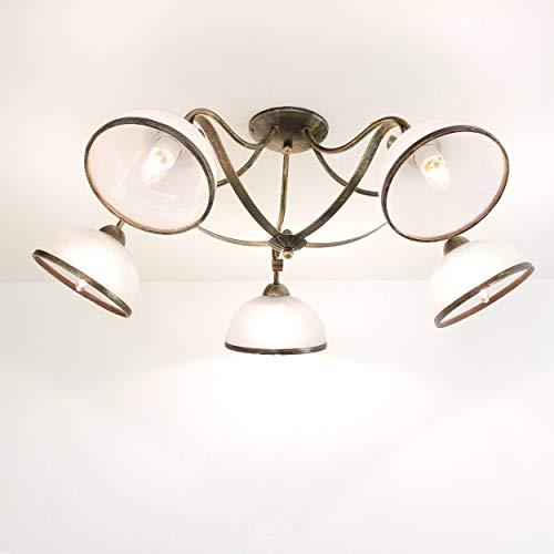Deckenlampe Deckenleuchte Jugendstil Art Metall Schwarz Gold Antika