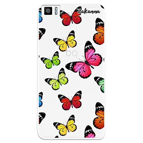 dakanna Funda para [ Bq Aquaris M5.5 - M 2017 ] de Silicona Flexible, Dibujo Diseño [ Estampado de Mariposas Multicolor ], Color [Fondo Transparente] Carcasa Case Cover de Gel TPU para Smartphone