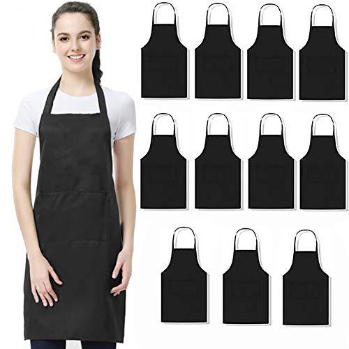 Lot de 11 tabliers en tissu déperlant lavable, avec 2 poches, parfait pour la cuisine, le barbecue, unisexe, noir