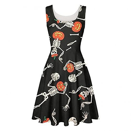 Halloween Kleider Damen A-Linie Rundhals Kleid Vintage Retro Cocktailkleid Rockabilly Weihnachten Karneval Drucken Abend Prom Kostüm...