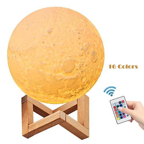 Lampe Lune 3D, PAREIKO Veilleuse LED avec Interrupteur Tactile, 16 couleurs 4 modes d'éclairage, 15cm Diamètre Portable Décoration pour Chambre Salon Café