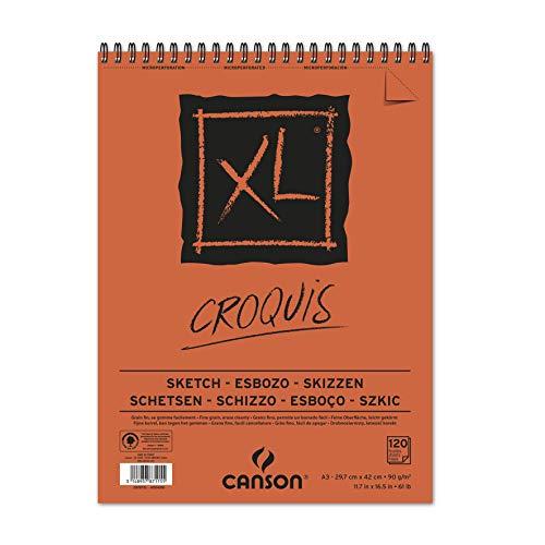 Canson XL Block Skizzen- und Zeichenpapier/787115 A3 natürlich weiss 90 g/qm Inhalt 120 Blatt