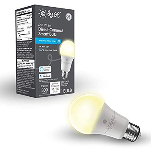 C by GE Soft White Direct Connect Light Bulb (1 A19 Smart LED Bulb), 60W Replacement, Bluetooth/Wi-Fi Enabled, Alexa + Google Home Compatible Without Hub, 1-Pack (Packaging May Vary)