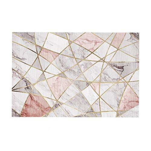 zyy Alfombra Alfombra del Piso Excelente Patrones Geométricos Antideslizante Lavable Material de Microfibra Grandes Alfombras de Salón Cuarto Felpudo Entrada (Color : Blue, Size : 160x230cm)
