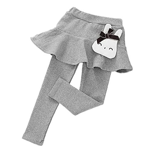 VusiElag Pantalones Largos para niñas para niñas bebé Pantalones Largos Pantalones Largos con Falda de Pantalones de Chiste de algodón Dibujos Animados Gris 90 cm