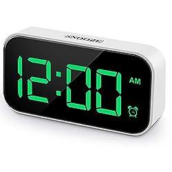 Beyoxfath Digital Alarm Clock, 5 Inches LED Screen, 12/24H, 5 Brightness, 6 Different Tone Settings, Snooze,USB Port, Big Green Digit Display,Small Desk Bedroom Bedside Clocks.