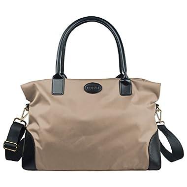 ECOSUSI Unisex Large Travel Weekender Bag Duffle Bag Gym Totes in Trolley Handle, Beige