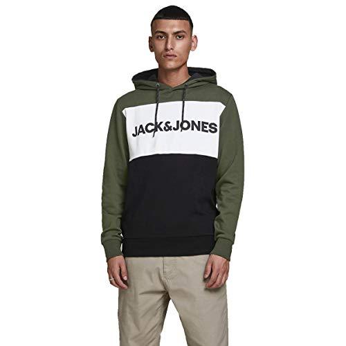 Jack & Jones - Felpa con cappuccio con logo, a sezioni colorate notte foresta XS