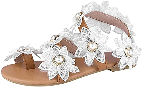 Sandalias De Vestir2021 Sandalias De Mujer Sweet Chic Flower Pearl Beach Chanclas...