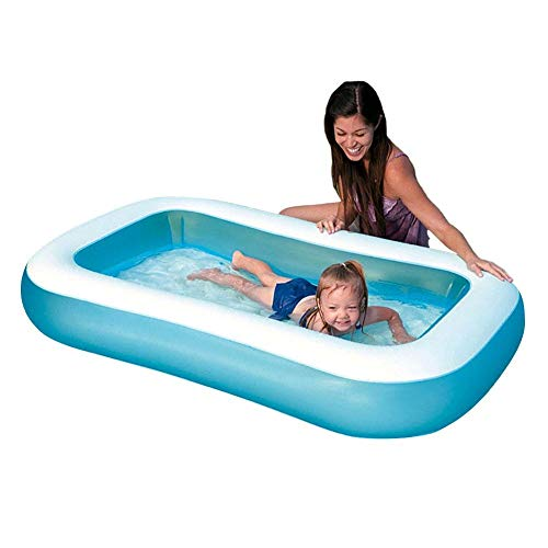 Chlius piscina familiar hinchable, redondo/rectangular, piscina inflable al aire libre, piscina para niños y adultos, resistente al desgaste de burbujas, azul, Rectangular: 166 x 100 x 28cm