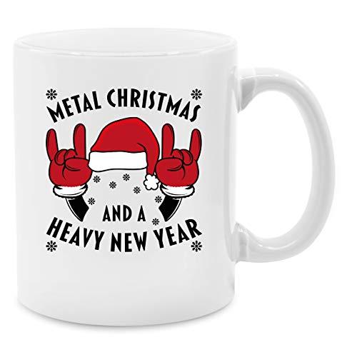 Weihnachtstasse - Metal Christmas and a Heavy New Year - Unisize - Weiß - heavy christmas tasse - Q9061 - Kaffeetasse und Teetasse