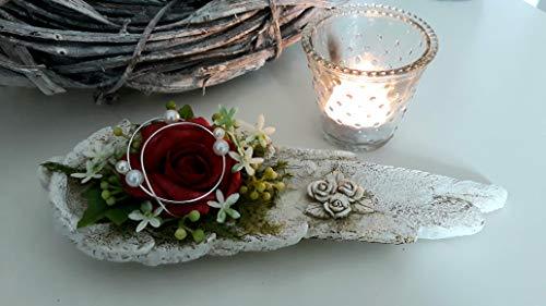 Grabgesteck Engelsflügel Rose rot Grabdeko Urnengrab Gesteck Grab Gedenktag Trauergesteck