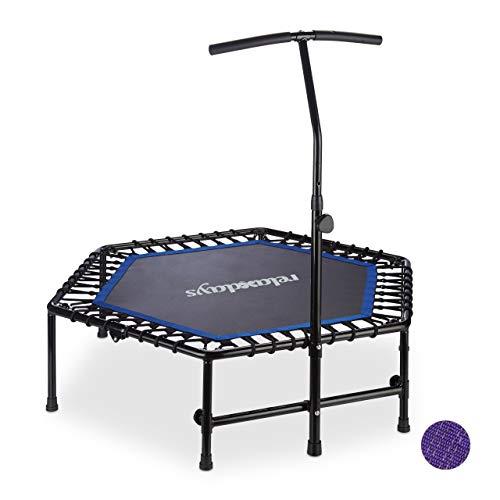 Relaxdays Unisex – Indoor, opvouwbaar, in hoogte verstelbare handgreep, mini trampoline fitness, tot 120 kg